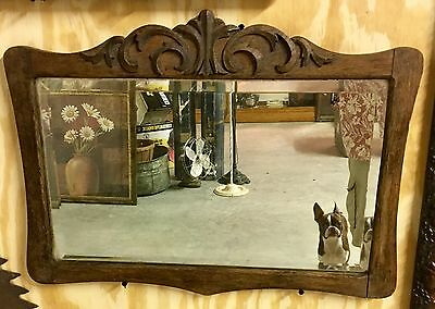 Antique Victorian Oak Framed Swinging Serpentine Dresser Wall Beveled Mirror Old