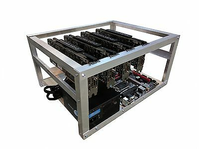 Aluminum Crypto Coin Open Air Mining Frame Rig Case up to 6 GPU's ETH Ethereum