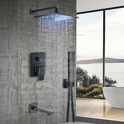 Brushed Nickel Shower Panel Tower LED Rain&Waterfall With Massager Body Jet Tap