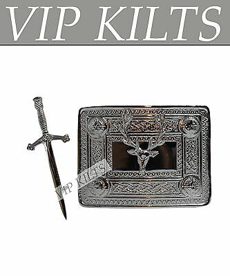 Scottish Stag Buckle And Sword Kilt Pin Set Chrome Finish For Boys And Men