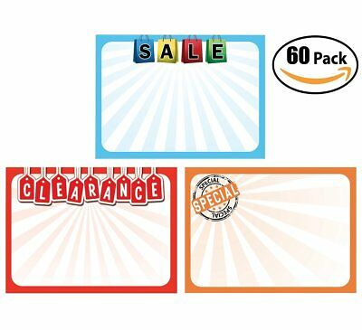 Retail Genius Price Tag 60 Sign Variety Pack.  Easy 5x7 to Write On Sale Cards