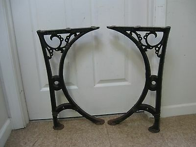 Antique Nice 1800's Industrial Cast Iron Table Base Legs Ornate OD Case Hftd, CT