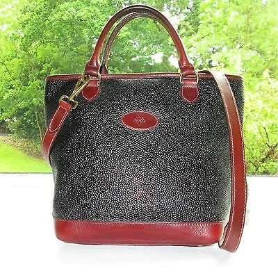 Authentic Mulberry Black Scotchgrain & Brown Leather Hellier Shoulder Hand Bag