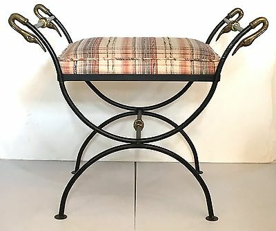 Antique FRENCH DIRECTOIRE NEOCLASSICAL Style IRON CERULE STOOL Swan Heads