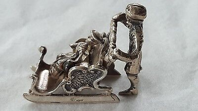 Antique Continental Silver Miniature Sleigh and Figures