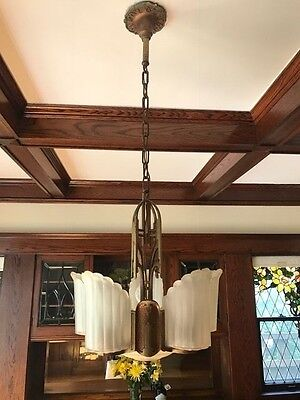 Art Deco 5 Light Slip Shade Chandelier, 1912's Antique, pristine condition
