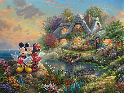 Disney Artwork Print on Canvas Giclee/Mickey & Minnie Mouse Kiss/Cottage-NICE!!