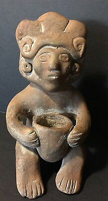 Vintage Mexican Aztec Mayan Pre-Columbian Clay Pottery Figure