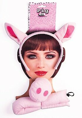 Pink 3 Little Piggys Pigs Pig Nose Ears Tail Costume Farm Animal Accessory Kit