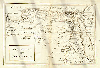 Original 1761 antique map of Egypt & Cyrenaica in the Classical period