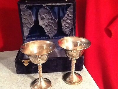 2 Vintage EPNS Metal Etched & Engraved Goblets in Blue Box