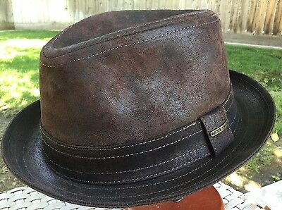 3fe230f7cbfd66 STETSON GERMANY RADCLIFF PIGSKIN LEATHER PORK PIE FEDORA BROWN M 57cm 7 1/8