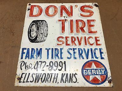 Original HAND PAINTED Vintage DON'S TIRE SERVICE Sign DERBY GAS oil OLD Mancave
