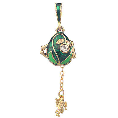 Faberge Egg Pendant / Charm with Angel 1.8 cm green #0678-08