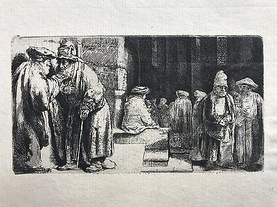 Rembrandt etching, Pharisees in the Temple or Jews in the synagogue, 1648