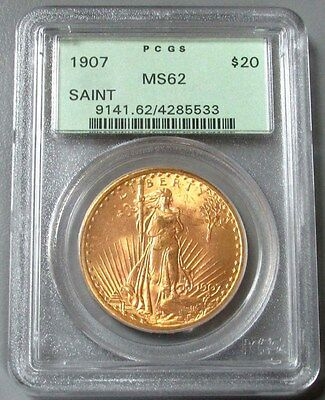 1907 Gold $20 Saint Gaudens Double Eagle Coin Green Label Pcgs Mint State 62