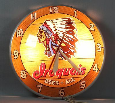 Rare Iroquois Beer Vintage Double Bubble Ale-Clock Lighted Indian Chief