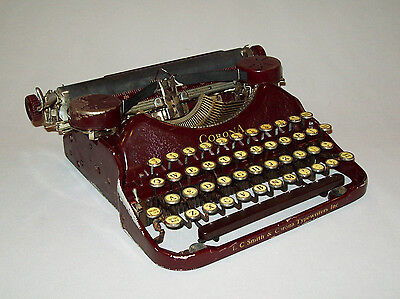 Great antique vtg ca 1920s Maroon Corona Four Typewriter Portable Manual Scarce