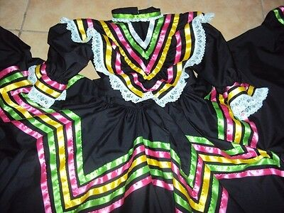 Mexican Folklorico Jalisco Style Dance,Ballet,Black Dress,12-14 child