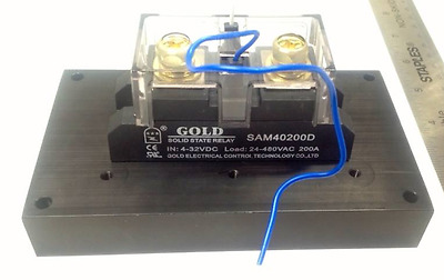 Solid State Relay UL 4-32VDC-in, 40-480VAC-out, 200Amps! (Pt# SAM40200D)