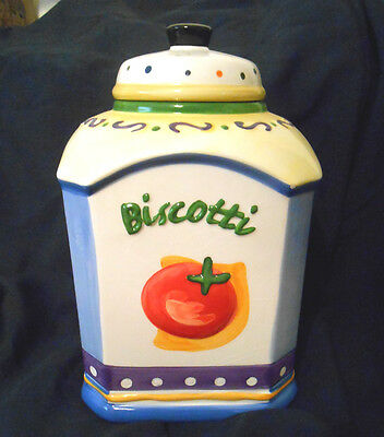 Nonni Biscotti Italian Cookie Jar Hand Painted Canister Fruits & Vegetables