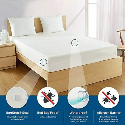 BED BUG PROOF ~ Waterproof Zippered Vinyl Mattress Cover PROTECTOR King Queen