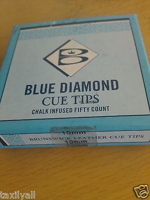 two  (2) BLUE DIAMOND 10 MM ORIGINAL BRUNSWICK POOL BILLIARD SNOOKER CUE TIPS