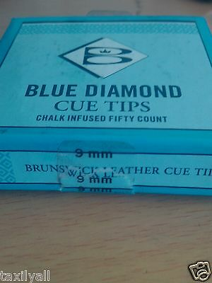 9mm TWO (2) BLUE DIAMOND 9 MM BRUNSWICK AUTHENTIC POOL BILLIARD SNOOKER CUE TIPs