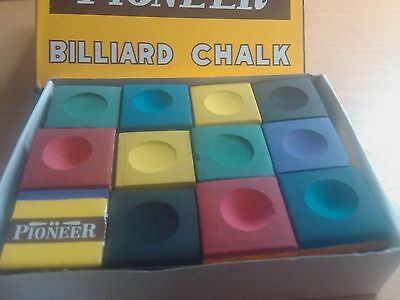 RAINBOW MIX CHALK Pool Snooker Billiard Cue Tip Table CUE CHALK 12 BLOCK 6 COLOR