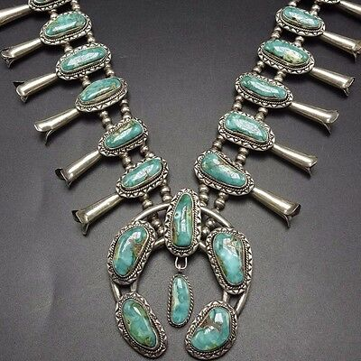 GORGEOUS Vintage NAVAJO Sterling Silver & Turquoise SQUASH BLOSSOM Necklace