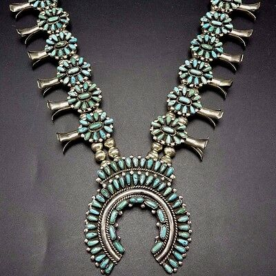 Vintage NAVAJO Sterling Silver & Turquoise Petit Point SQUASH BLOSSOM Necklace