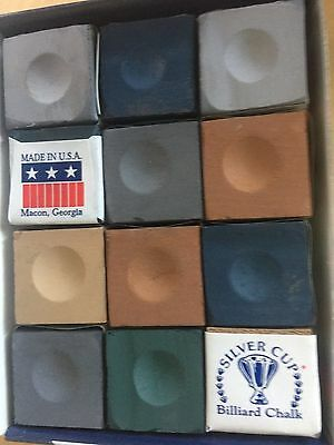 Top Of The Range Rainbow Mix Silver Cup (Usa) Cue Chalk 12 Block 6 Color