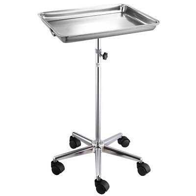 Mobile Rolling Mayo Stand Trolley Medical Instrument w/ Removable Tray & Base