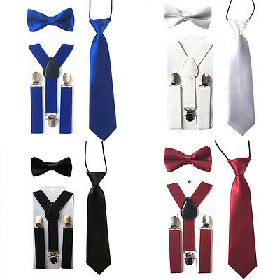 Toddlers Baby Girls Boy S Kids Suspenders Tie Bowtie Butterfly Bow Set Clip on