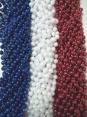 36 Red White Blue Memorial July 4th Mardi Gras Beads Party Favor Necklace 3 Doz