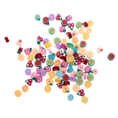 100pcs 10mm Mixed Polymer Clay Beads Flat Round Fruit Loose Spacer Beads