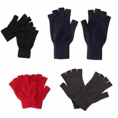 FINGERLESS KNITTED WOVEN GLOVES Winter Accessory Glove BLACK NAVY RED BROWN