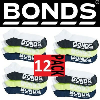12 PAIRS x MENS BONDS LOW CUT WHITE LOGO ANKLE SPORT SOCKS Colours as Pictured