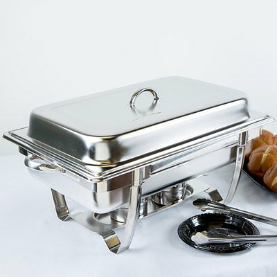 NEW! Stackable 8 Qt. Full Size Chafer Steel Catering Buffet Serving Dish
