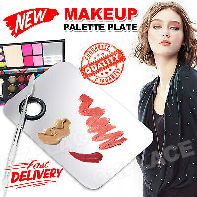 Stainless Steel Cosmetic Makeup Palette Plate Beauty Salon Color Cream Mixing AU