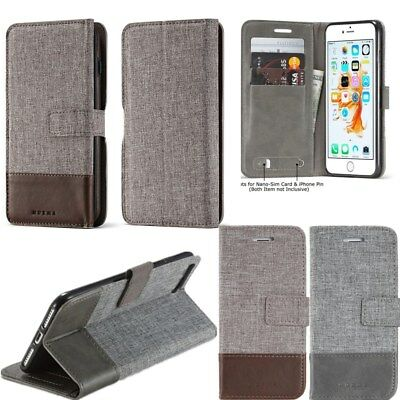 New Wallet Hybrid Canvas Leather Flip Stand Cover Case For iPhone 8 8 Plus 6s 6