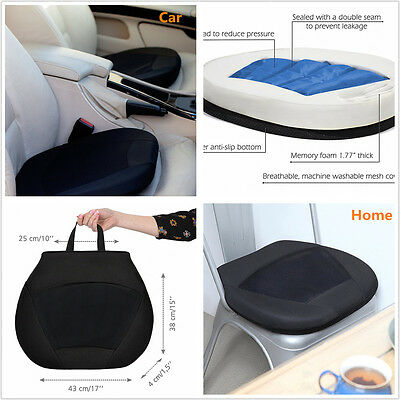 Black Orthopedic Gel Cushion for Drivers Car Seat Office Chair Stadium w/ Memor