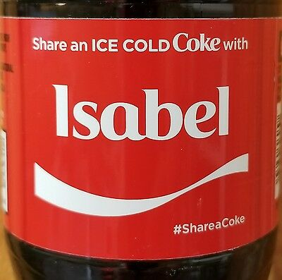 Brand New 2017 Share A Coke With Isabel 20 Oz Coca Cola Collectible Bottle