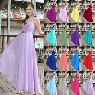 Toddler Kids Girls Dress Party Wedding Bridesmaid Prom Sleeveless Dresses 4-15Y