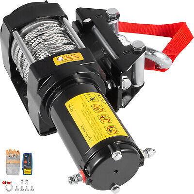 CE 12V 4000LBS /1815KG Electric Winch Synthetic Rope 10M Wireless ATV 4WD Car