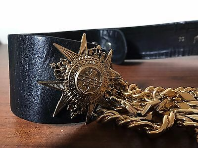 RARE VINTAGE Francoise Montague Black Leather Belt With Gold Chain Buckle 1970's