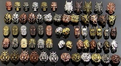 metal spacer beads charms - skull tiger lion buddha owl spider man Roman mask