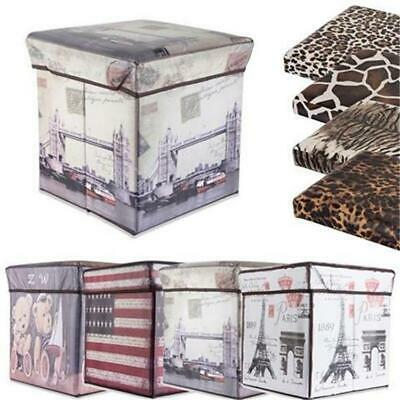 Foldaway Cube Seat Foot Stool Rest Storage Box with Print Ottoman Toy Box
