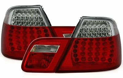 For BMW 3 Series E46 Coupe 1998-2003 Red & Clear LED Rear Tail Lights Pair