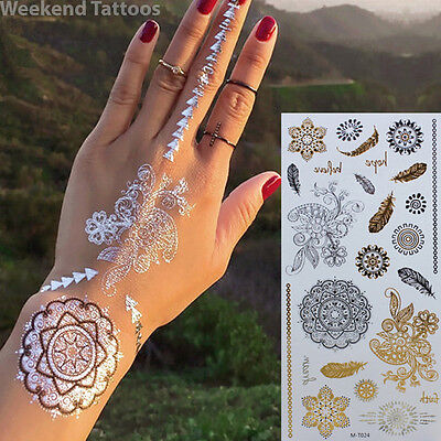 Silver Gold Feathers Flowers Metallic Temporary Tattoo Body Henna Transfers